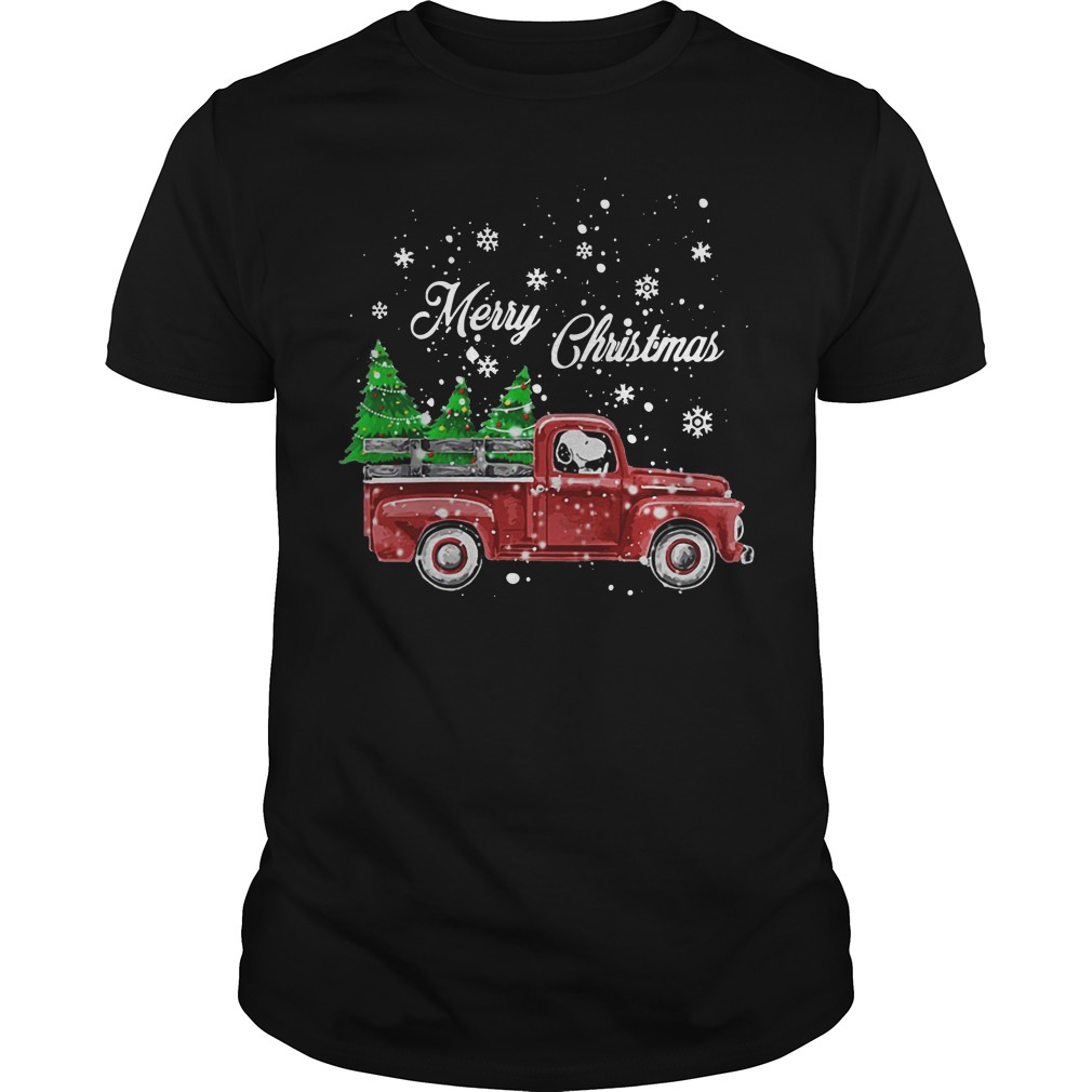 Merry Christmas Snoopy driving Christmas tree classic guy