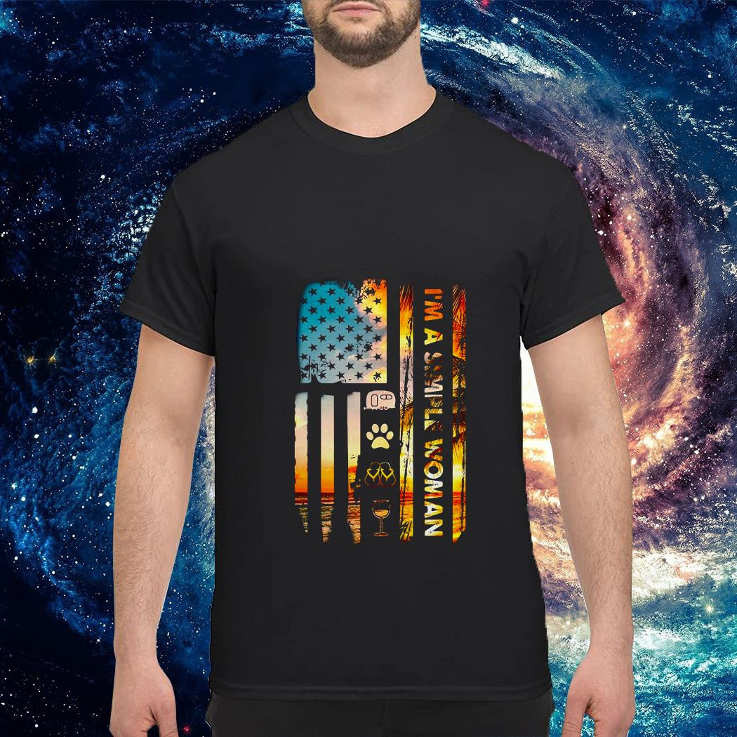 American flag I'm a simple woman I like camping dog paw flip flops and wine shirt