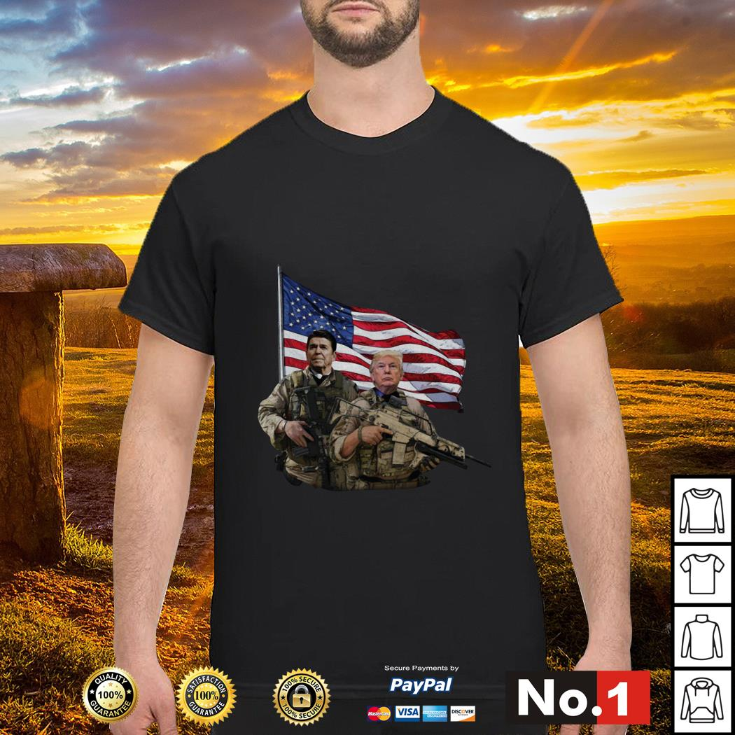 Presidential soldiers Ronald Reagan and Donald Trump USA flag shirt