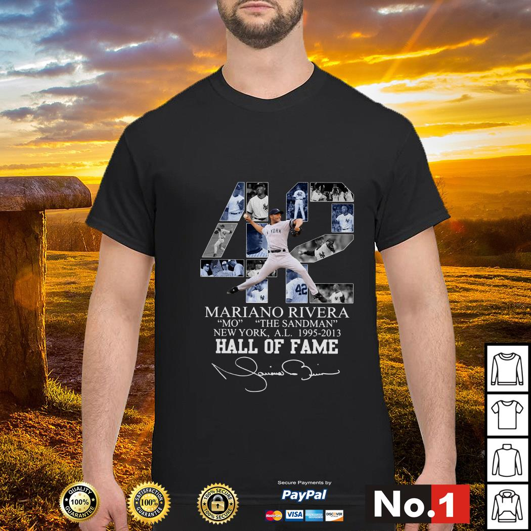 42 Mariano Rivera Mo The Sandman New York 1995-2013 hall of fame shirt