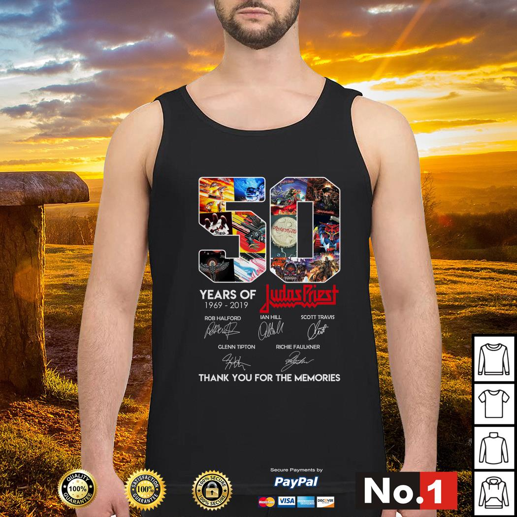 50 Years of Judas Priest 1969-2019 thank you for the memories signature Tank top