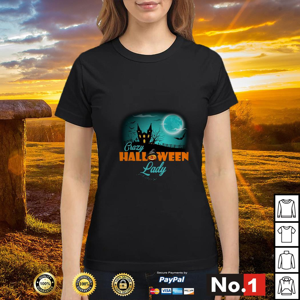 Crazy Halloween lady ladies-tee