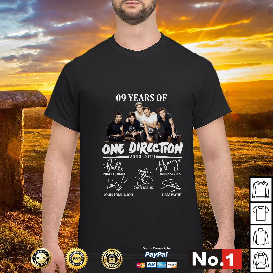 09 Years of One Direction 2010-2019 signatures shirt