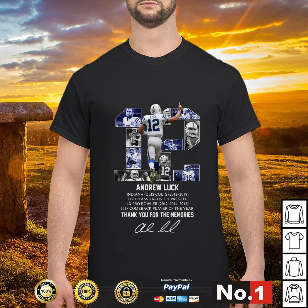 Andrew Luck 12 thank you for the memories signature shirt