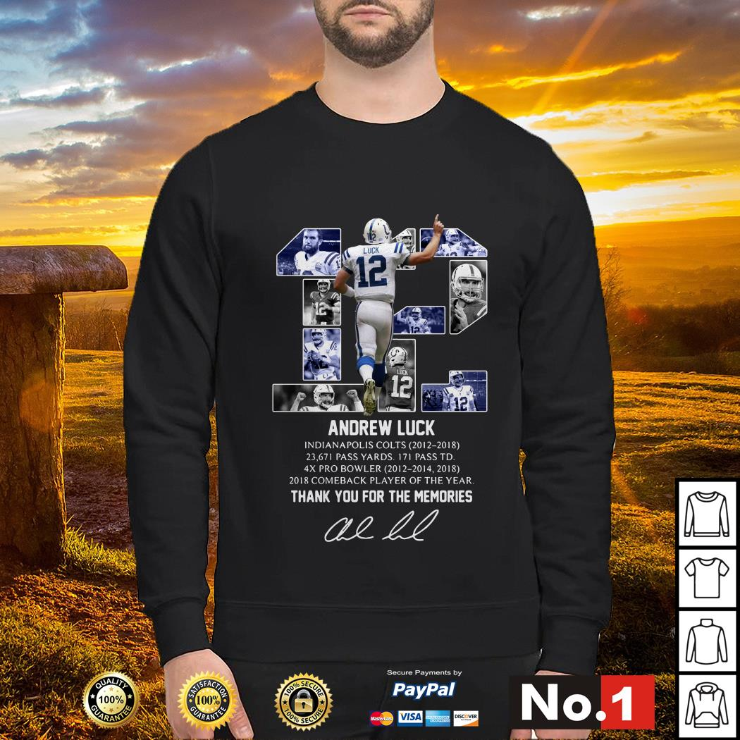 Andrew Luck 12 thank you for the memories signature sweater