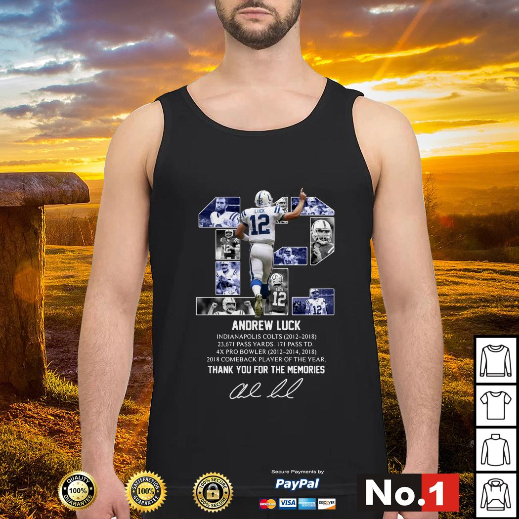 Andrew Luck 12 thank you for the memories signature tank-top