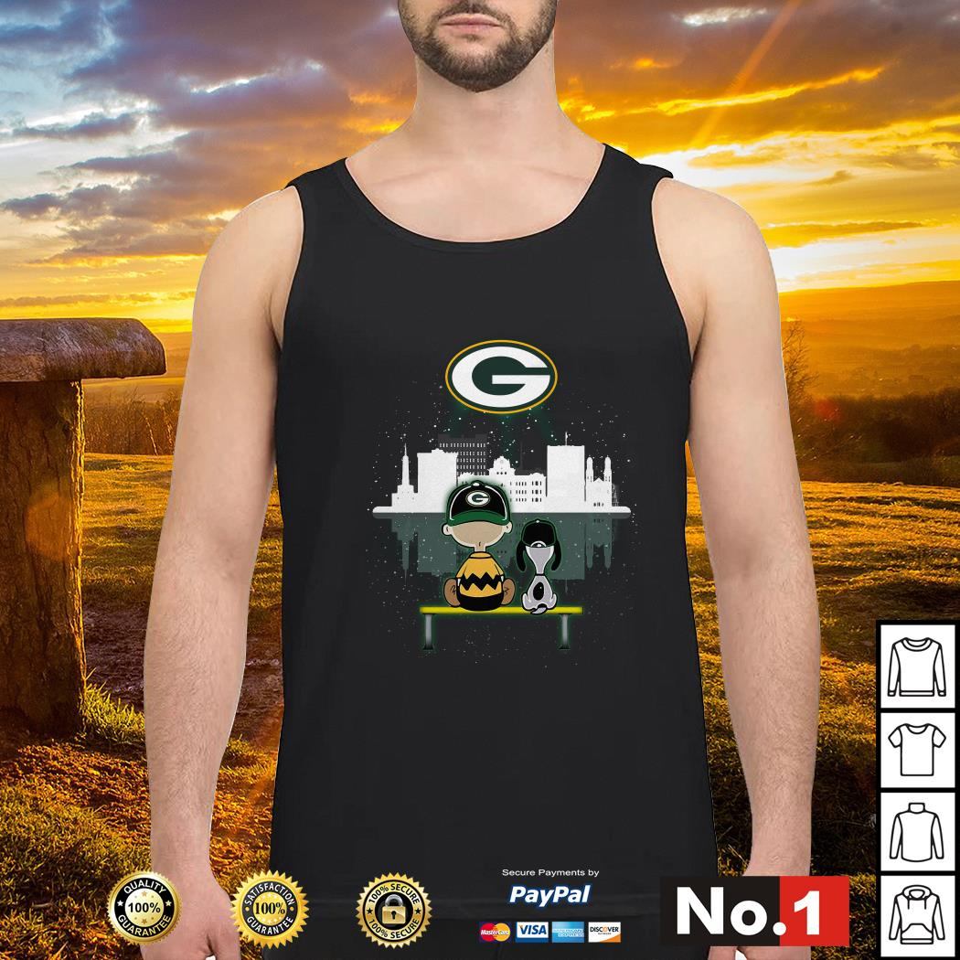 Charlie Brown and Snoopy dog watching Green Bay Packers tank-top