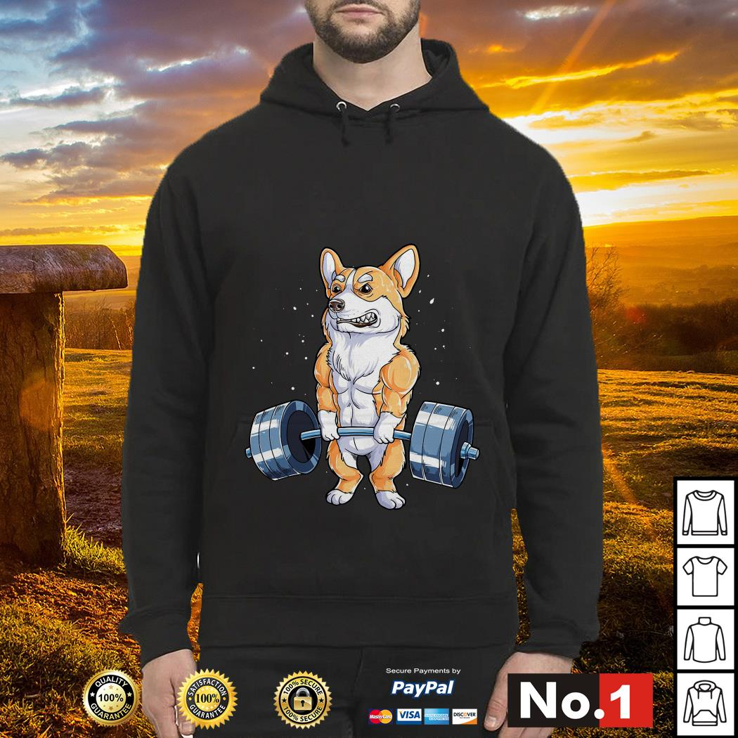 Corgi dog weight lifting hoodie