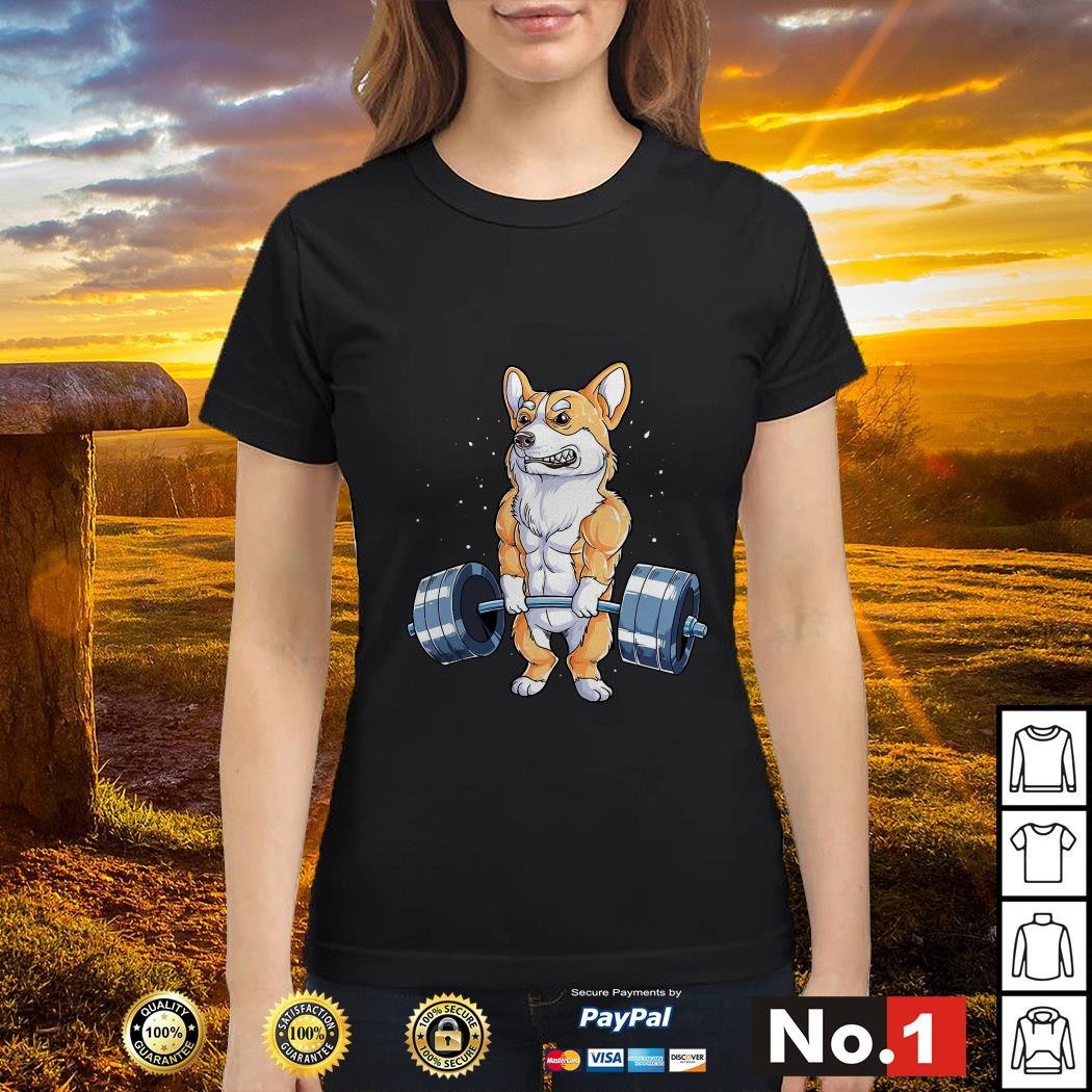 Corgi dog weight lifting ladies-tee