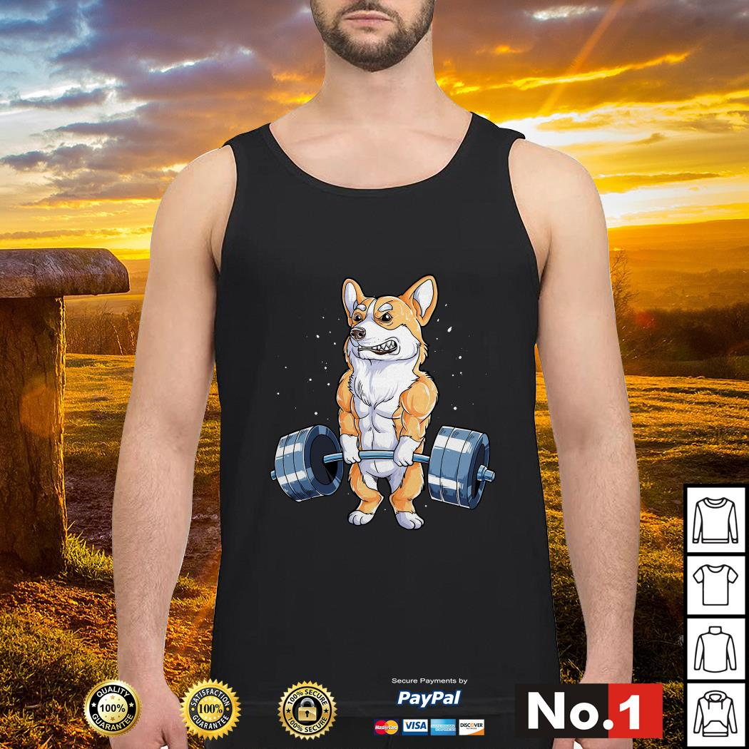 Corgi dog weight lifting tank-top