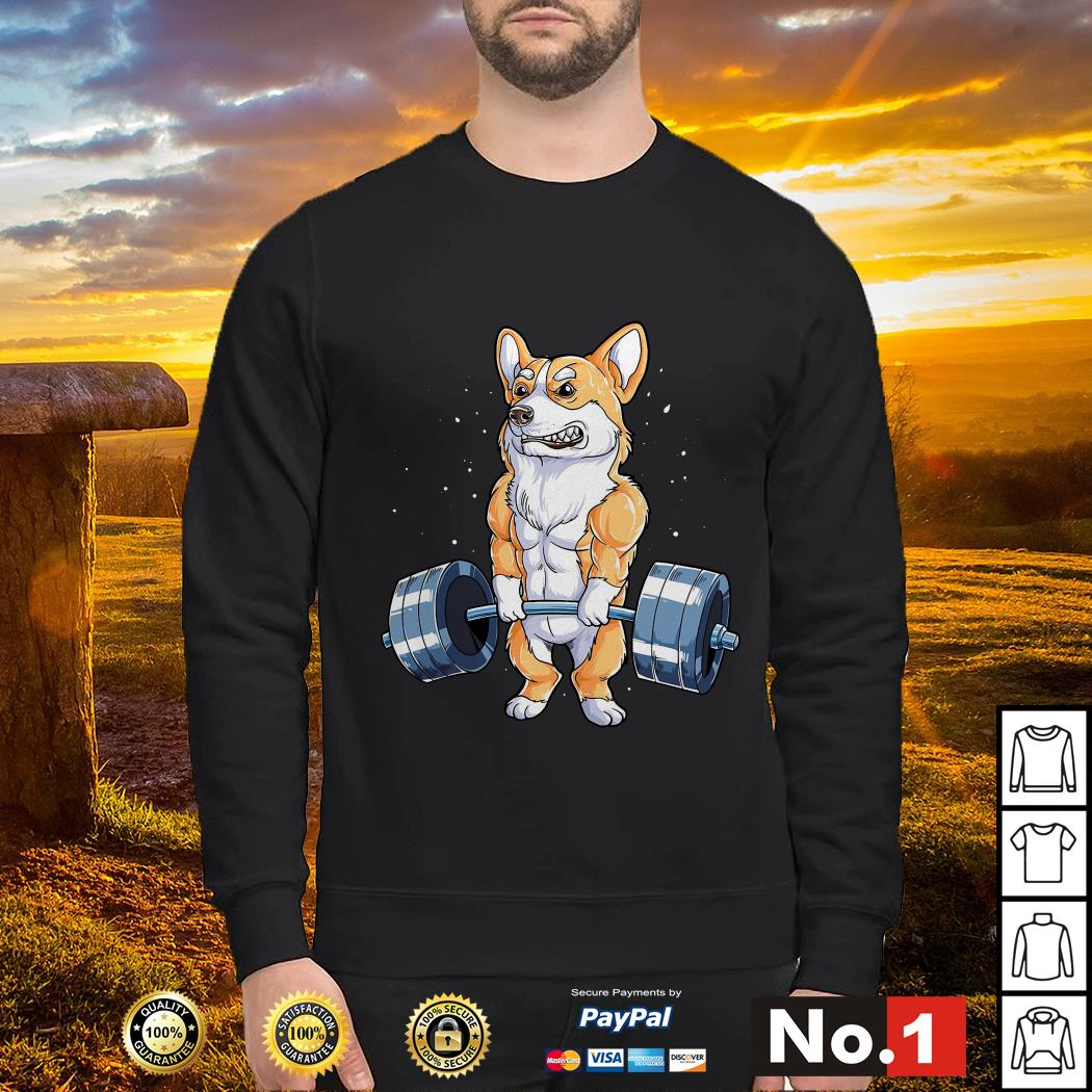 Corgi dog weight lifting sweater