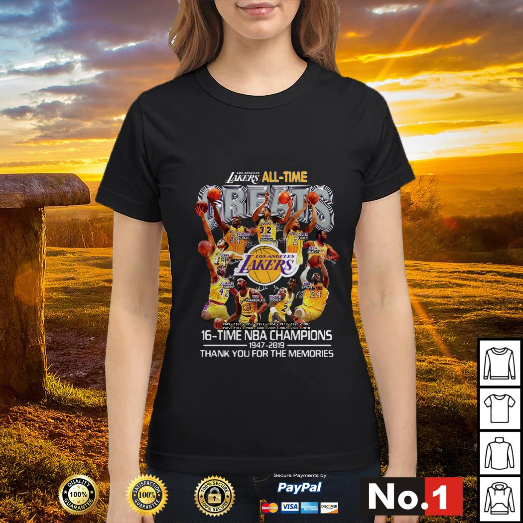 Los Angeles Lakers all time 16 time NBA champions ladies-tee