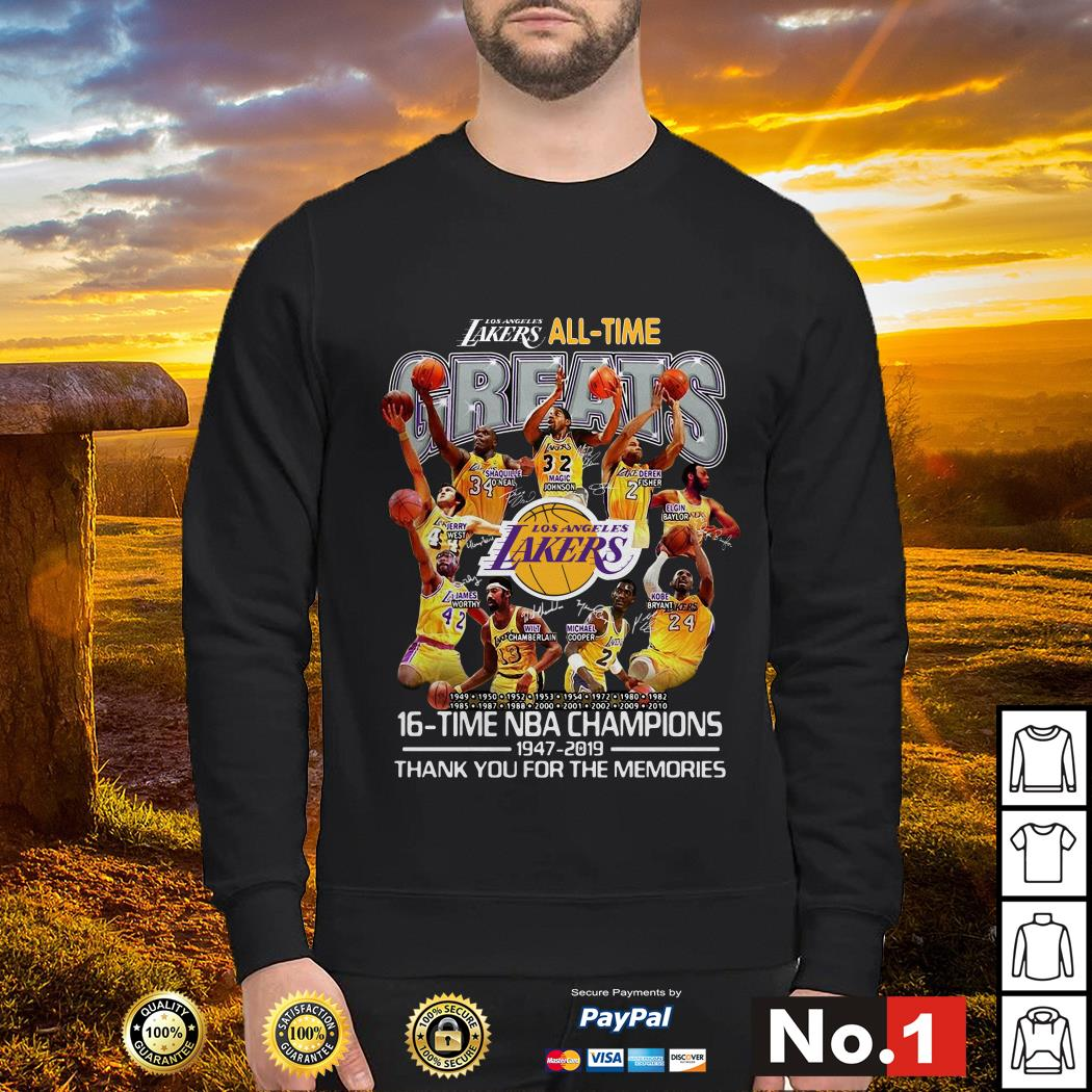 Los Angeles Lakers all time 16 time NBA champions sweater