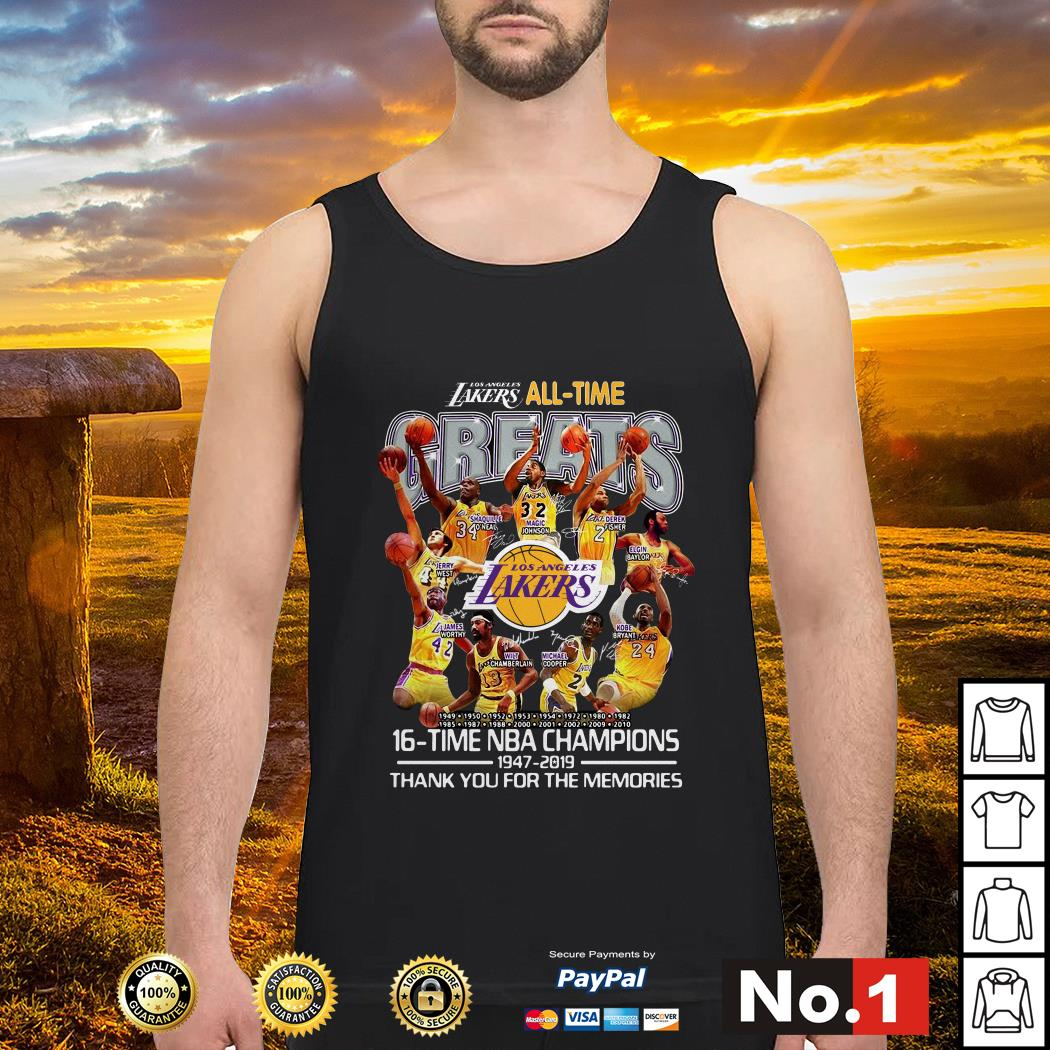 Los Angeles Lakers all time 16 time NBA champions tank-top