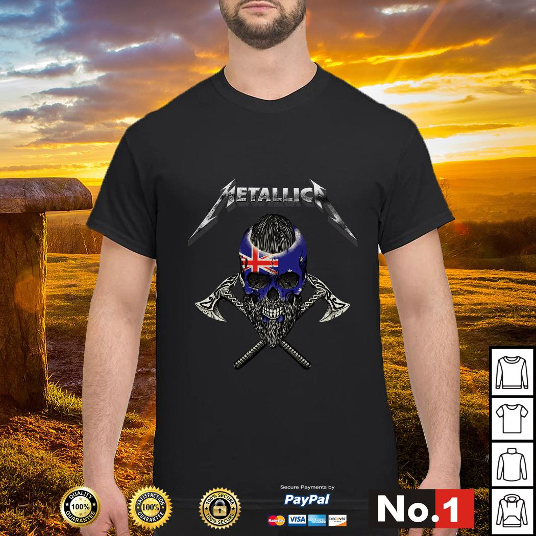 Metallica Viking skull Australia flag shirt