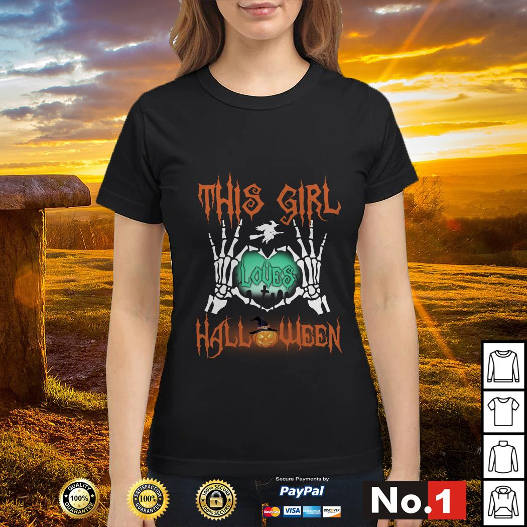 Official This girl loves Halloween ladies-tee