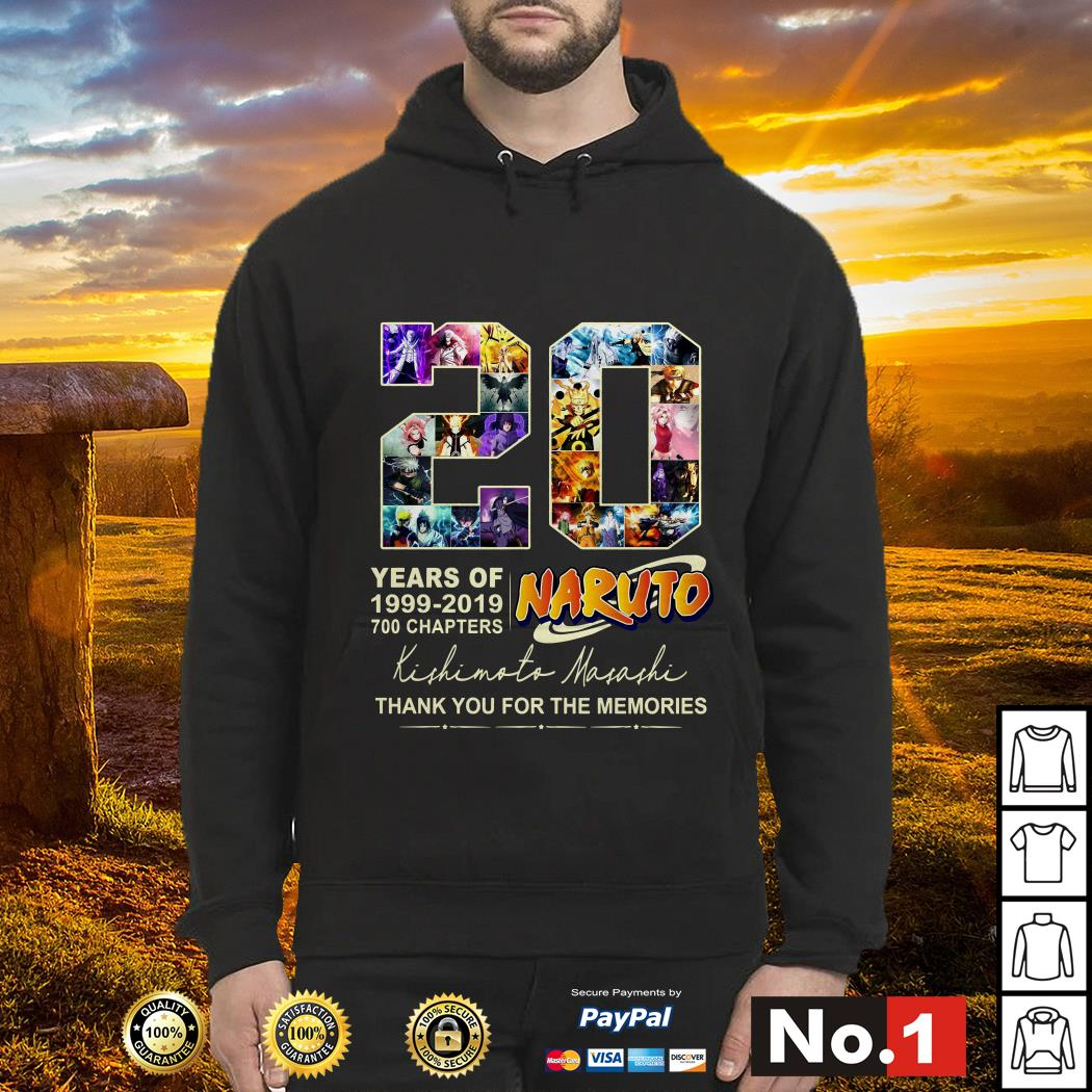 20 years of Naruto 1999-2019 700 chapters thank you for the memories hoodie