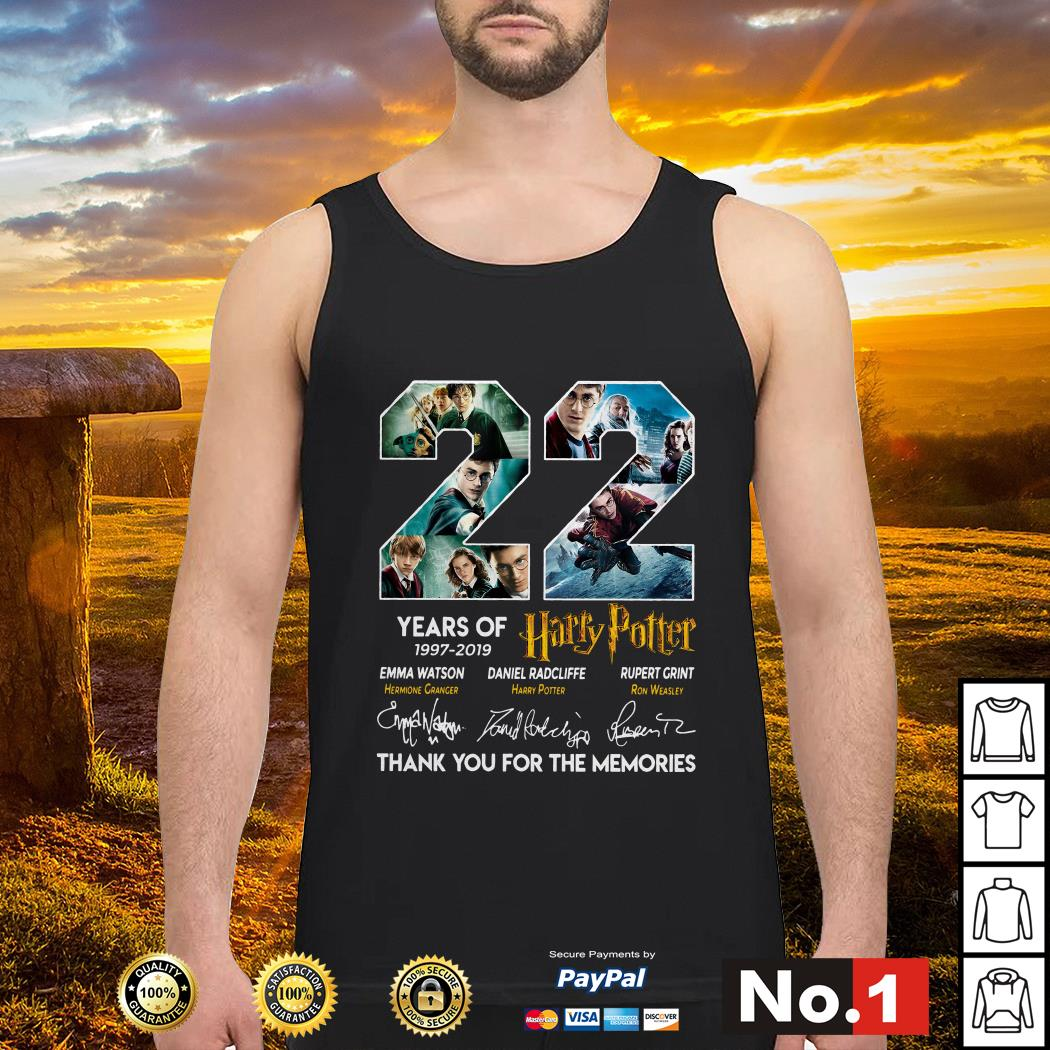 22 years of Harry Potter 1997-2019 thank you for the memories tank-top