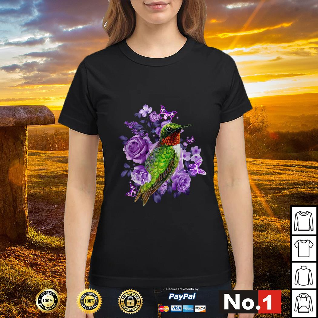 Hummingbird purple flowers ladies-tee