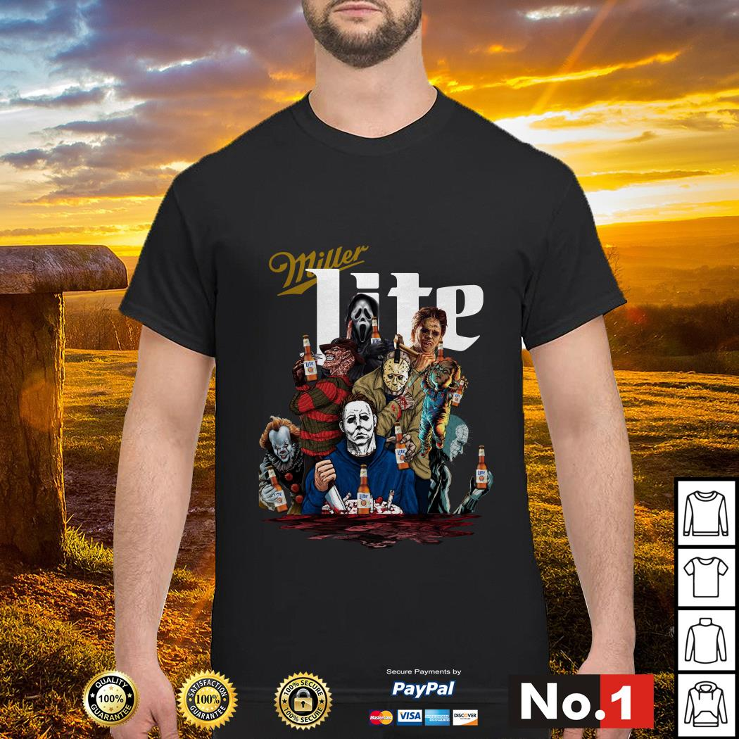 Miller Lite horror characters movies shirt
