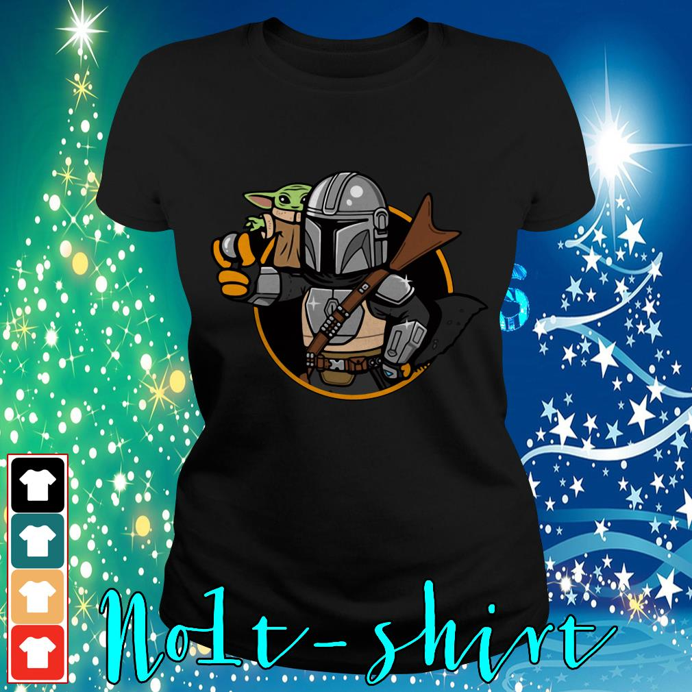 Baby Yoda Vault Mando and Child Mandalorian Ladies tee