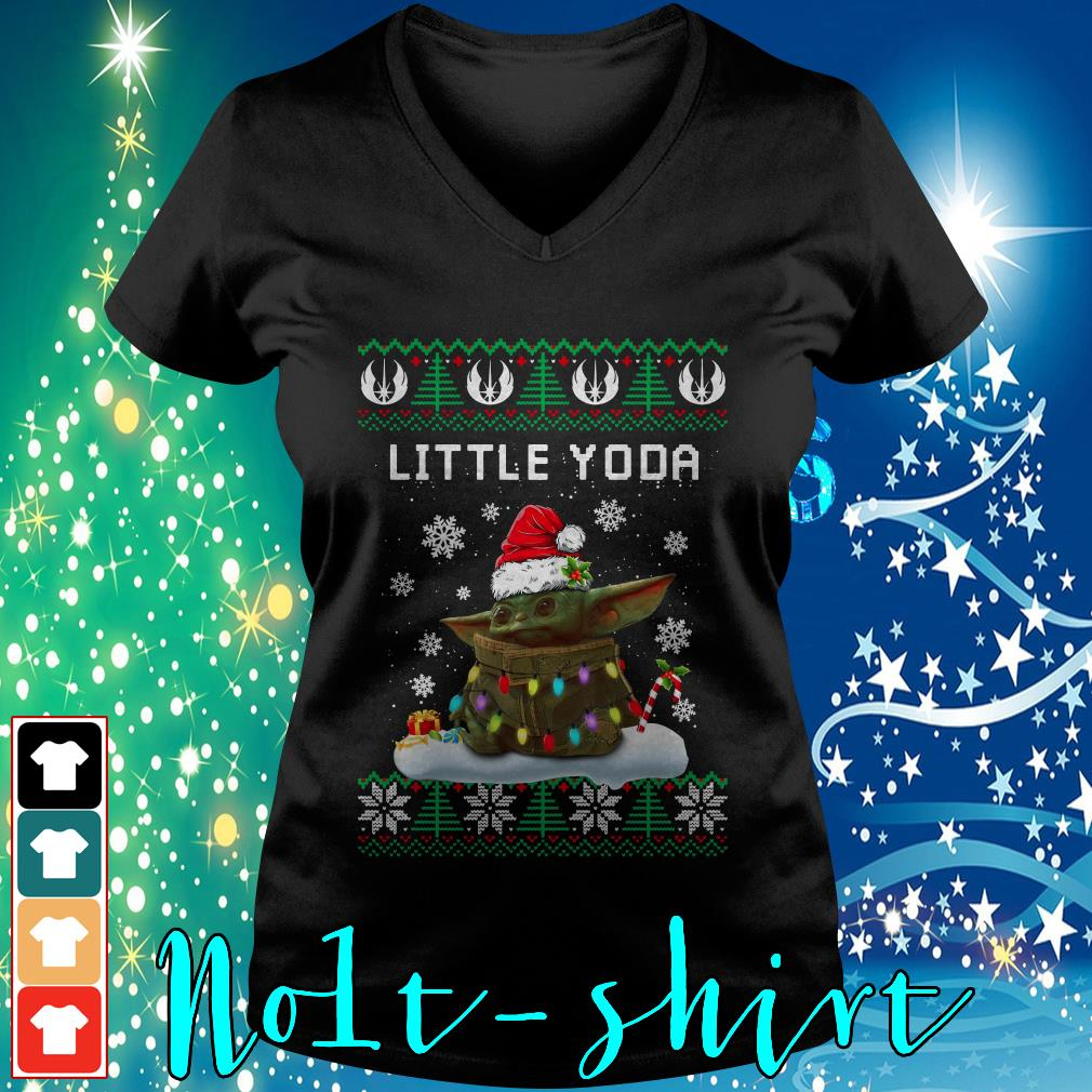 The Mandalorian little Yoda ugly Christmas V-neck t-shirt