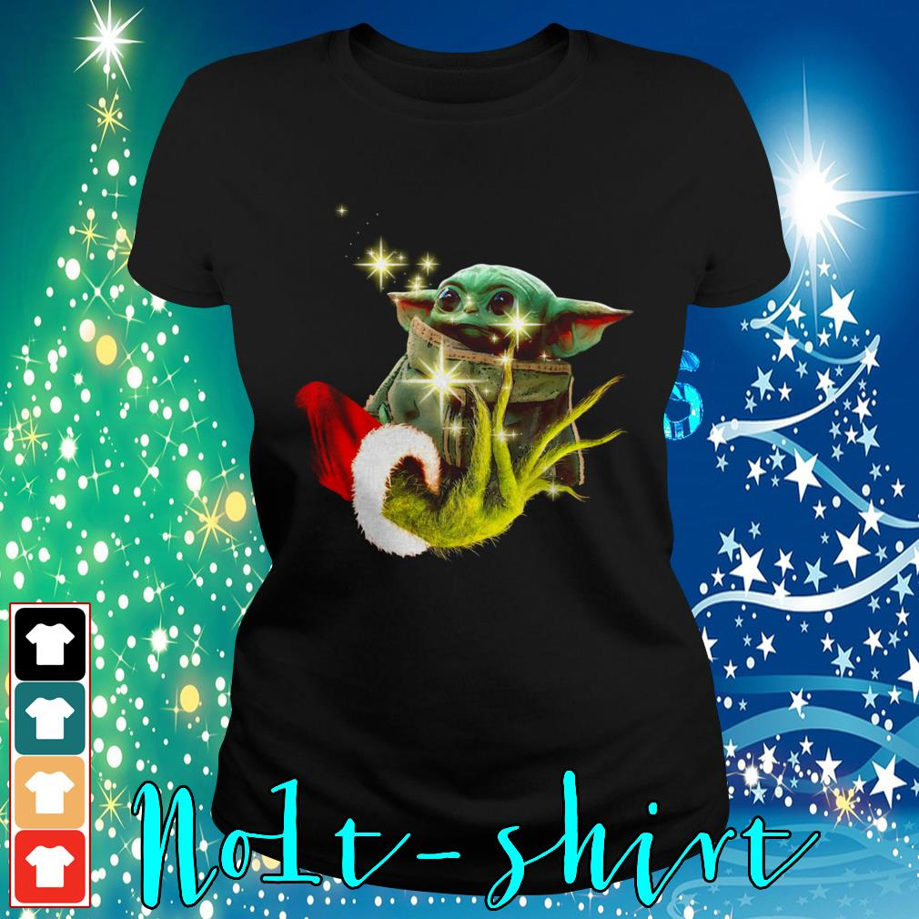 The Grinch holding a baby Yoda Ladies tee