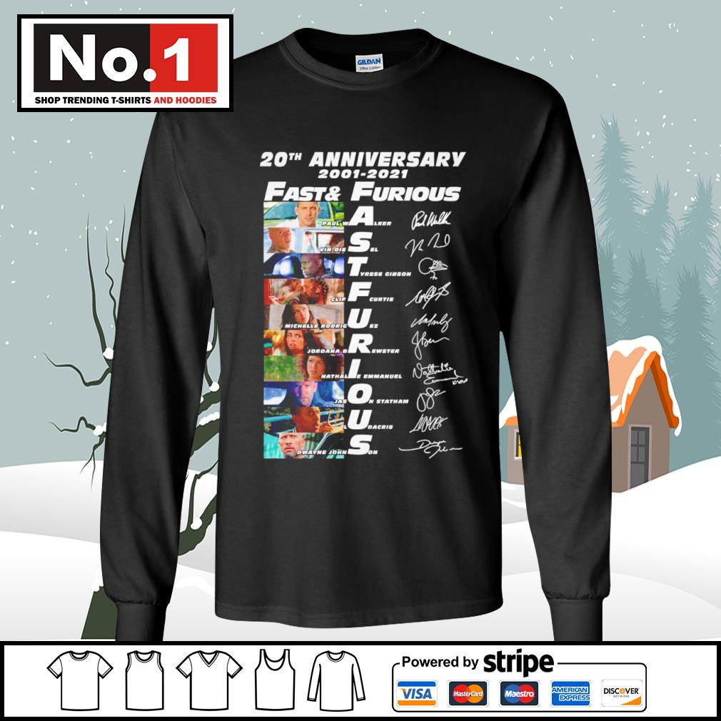 20th anniversary 2001-2021 Fast and Furious signature characters s longsleeve-tee