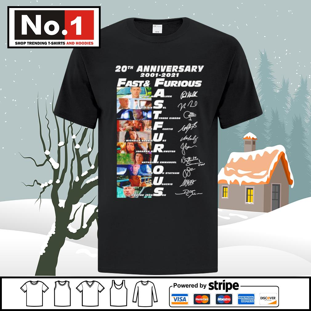 20th anniversary 2001-2021 Fast and Furious signature characters shirt