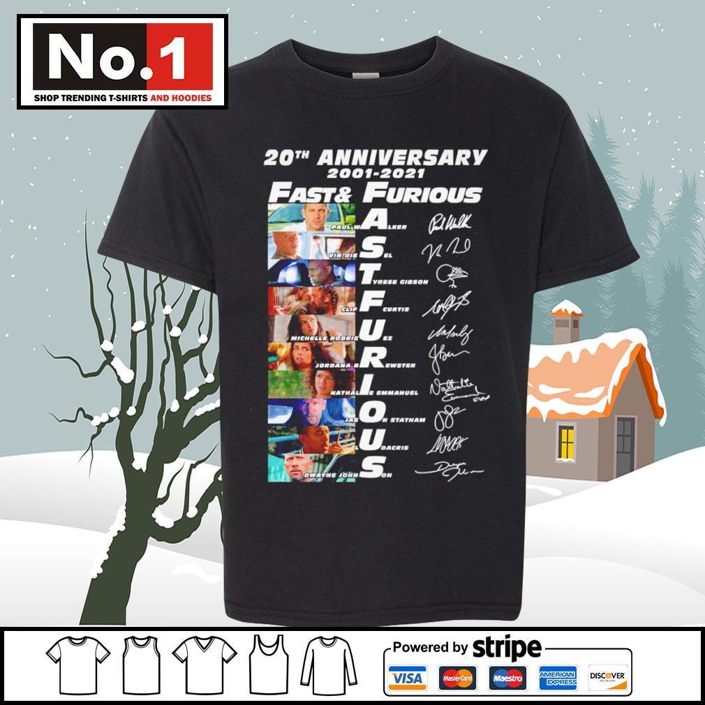 20th anniversary 2001-2021 Fast and Furious signature characters s youth-tee