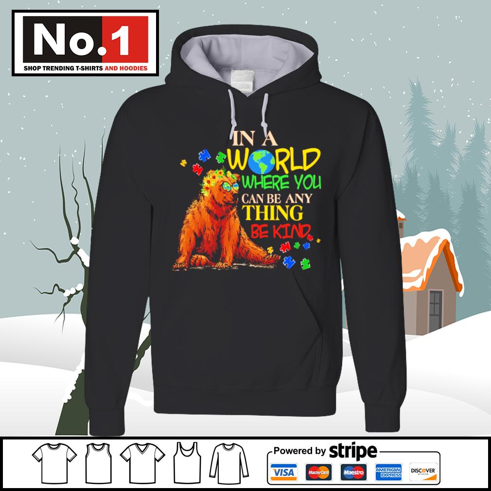 Autism Bear in a world where you can be anything be kind s hoodie