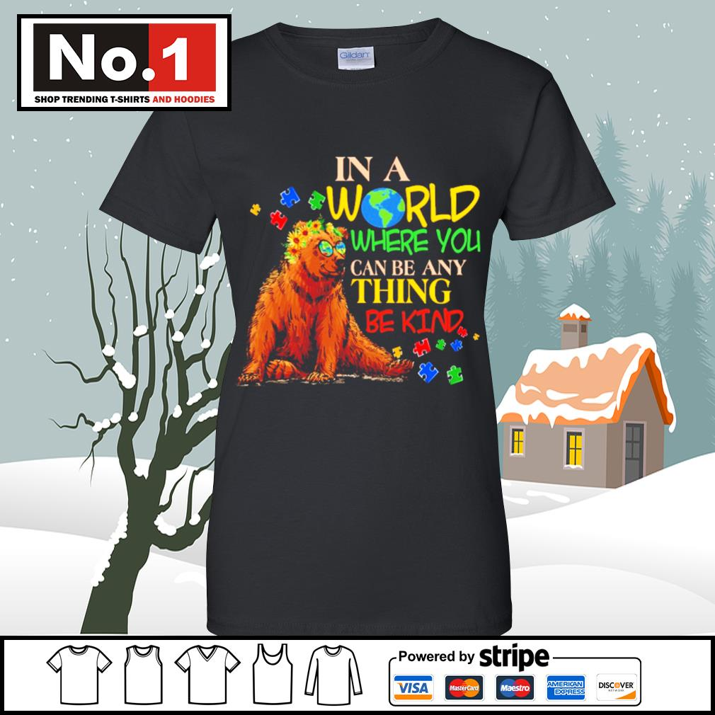 Autism Bear in a world where you can be anything be kind s v-neck-t-shirt