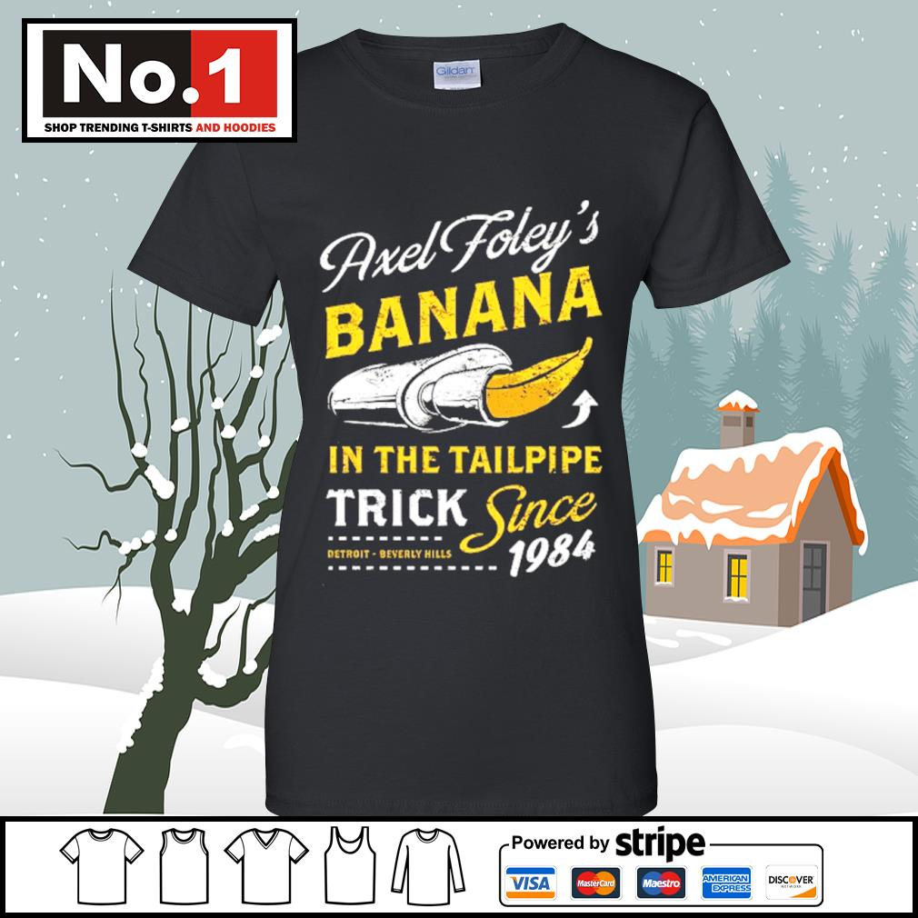 Axel Foley's banana in the tailpipe trick since 1984 Detroit Beverly Hills s v-neck-t-shirt