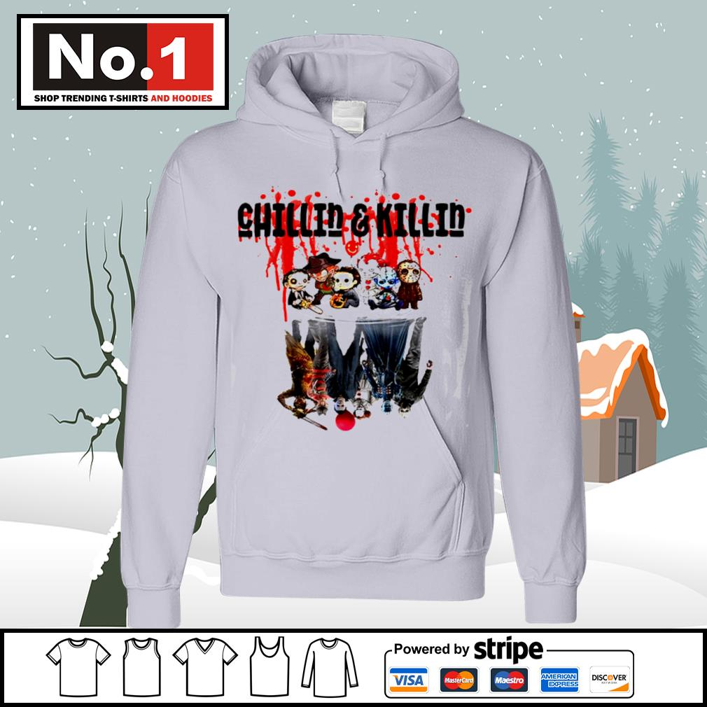 Halloween horror movies characters chibi chillin and killin water reflection mirror s hoodie