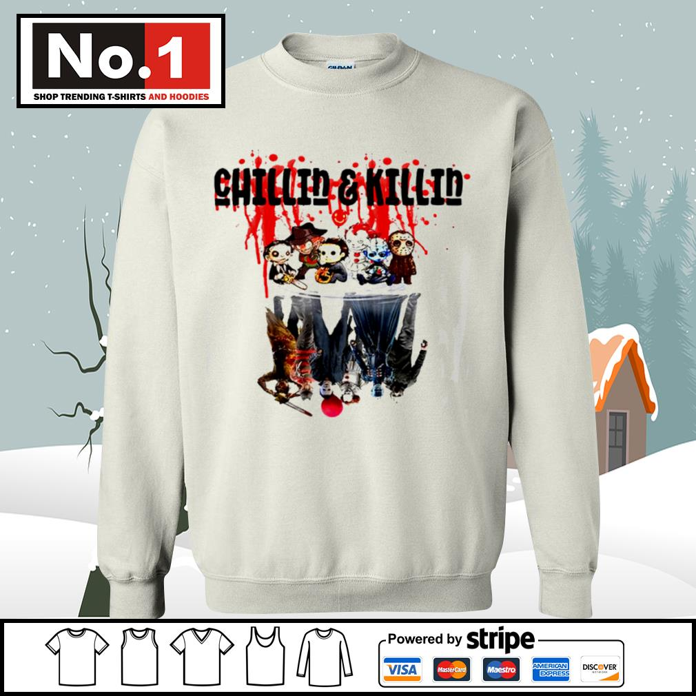 Halloween horror movies characters chibi chillin and killin water reflection mirror s sweater