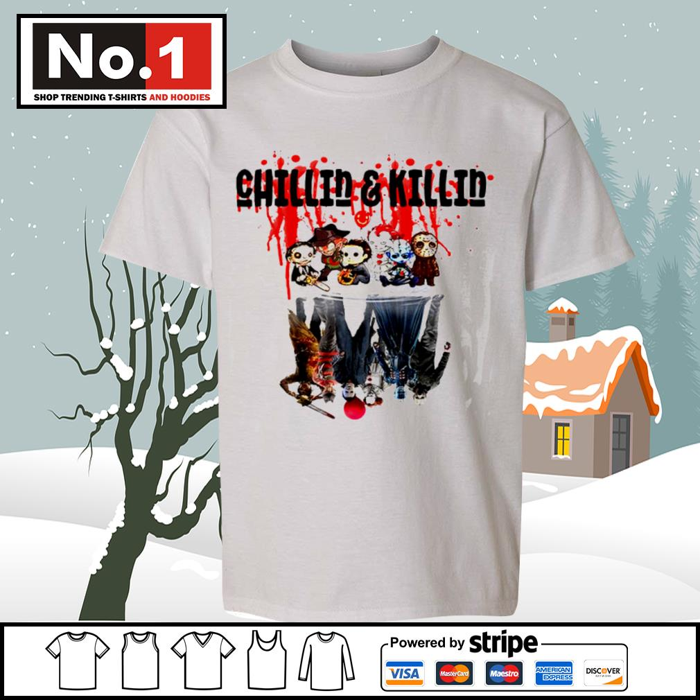 Halloween horror movies characters chibi chillin and killin water reflection mirror s youth-tee