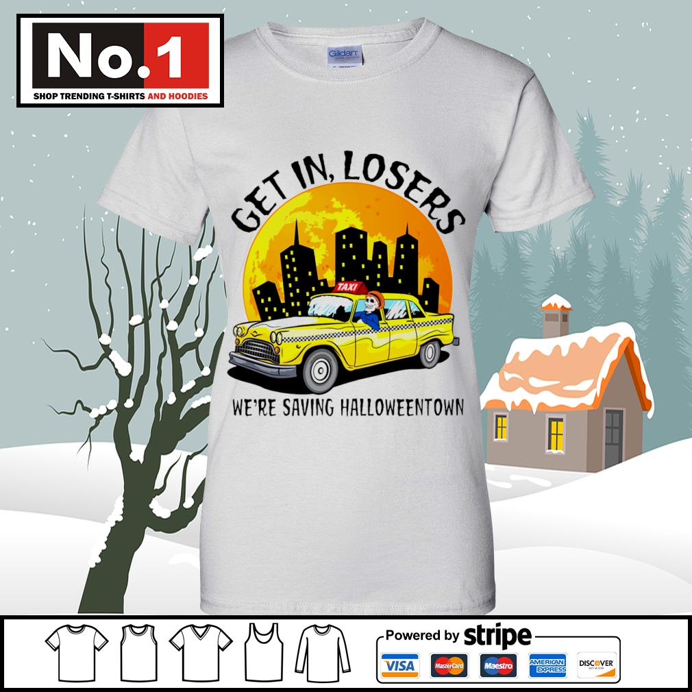 Halloween Taxi get in losers we're saving Halloweentown s v-neck-t-shirt