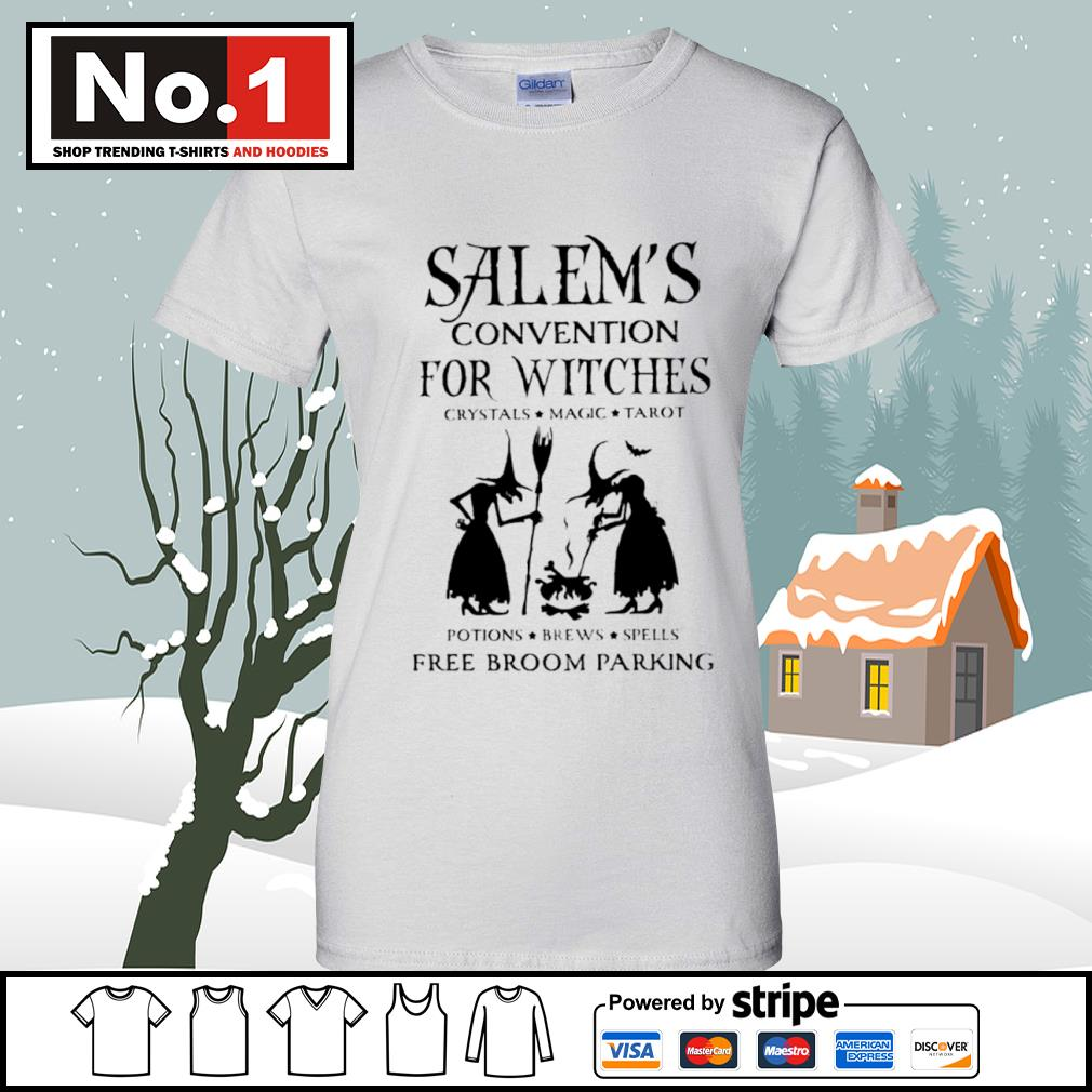 Salem's convention for Witches crystals magic tarot potions brews spells free broom parking s v-neck-t-shirt