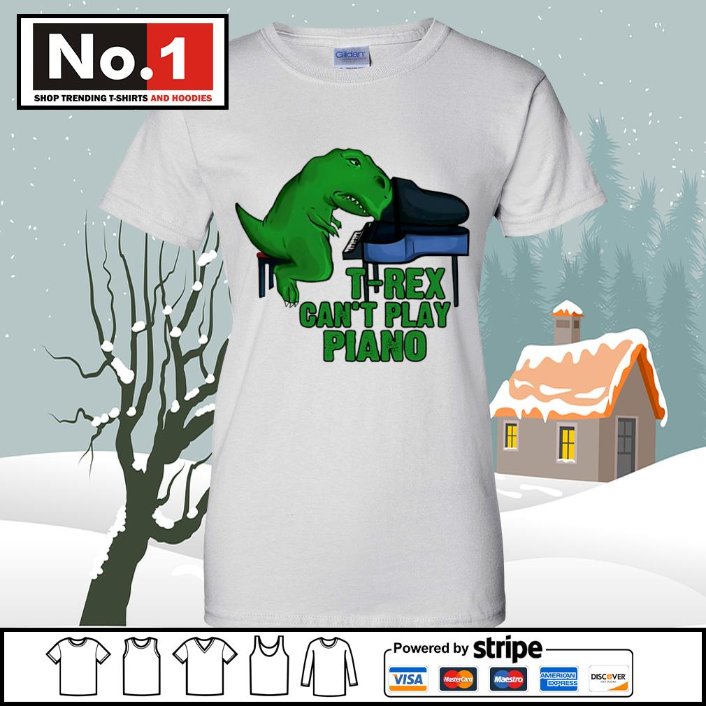 T-Rex can't play piano s v-neck-t-shirt