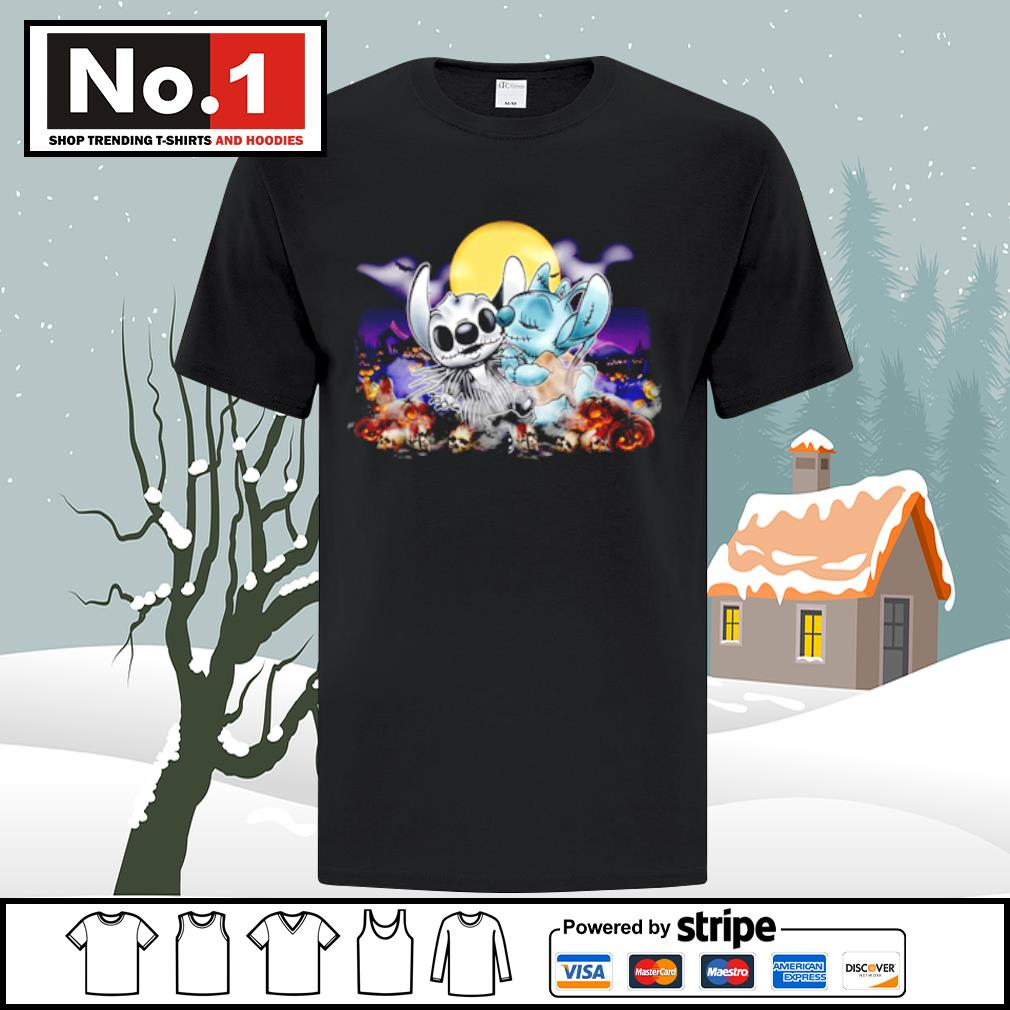 Halloween Angel kiss Stitch Nightmare before Christmas shirt