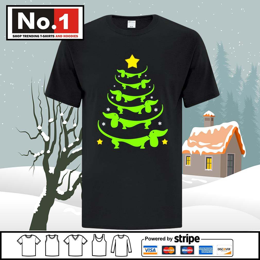 Dachshund Christmas tree shirt