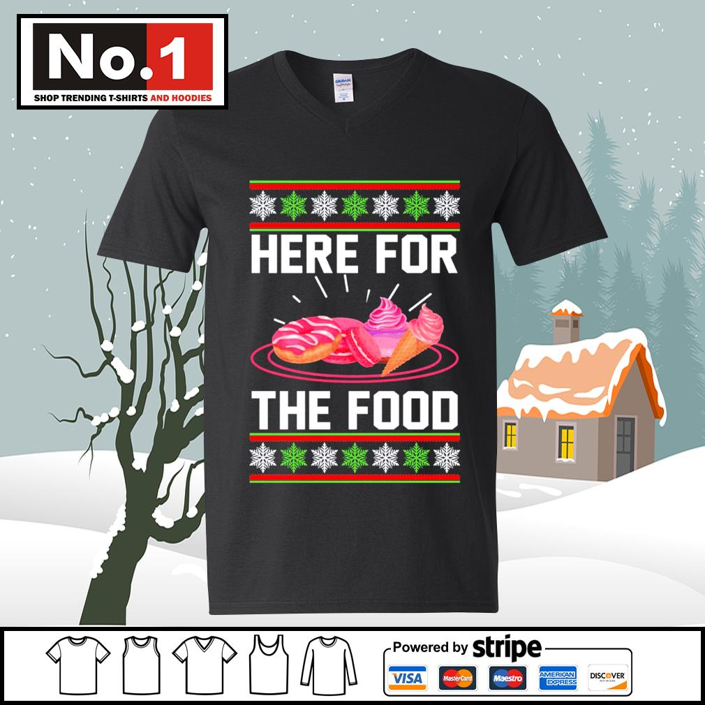 Donut and cream Here for the food ugly Christmas s ladies-tee