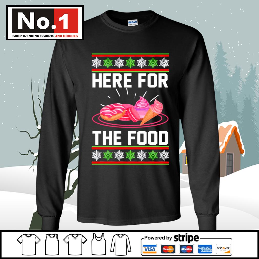 Donut and cream Here for the food ugly Christmas s longsleeve-tee