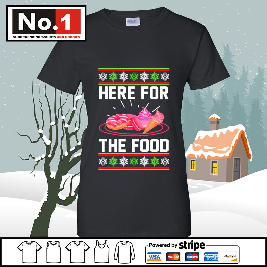 Donut and cream Here for the food ugly Christmas s v-neck-t-shirt