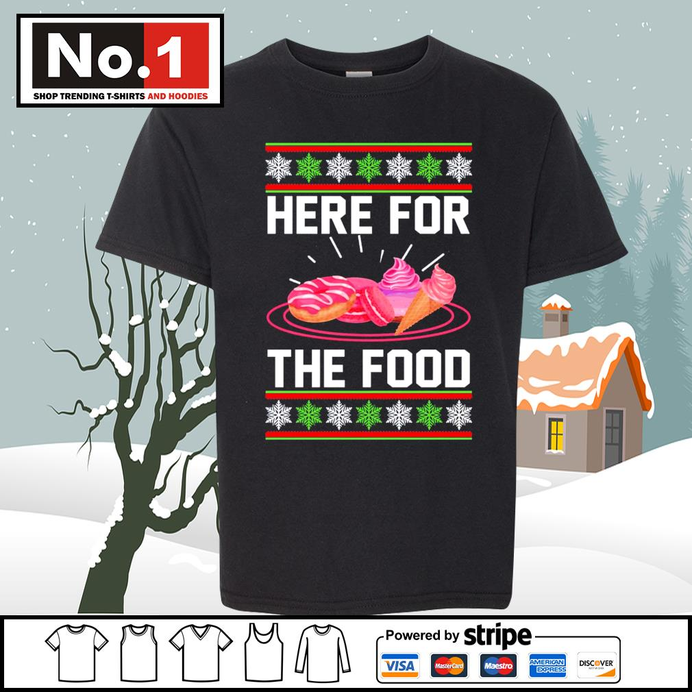 Donut and cream Here for the food ugly Christmas s youth-tee