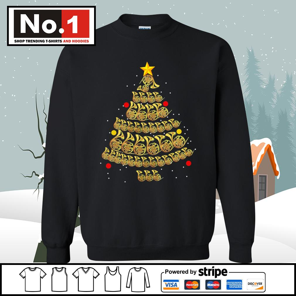 French Horn Christmas tree s sweater