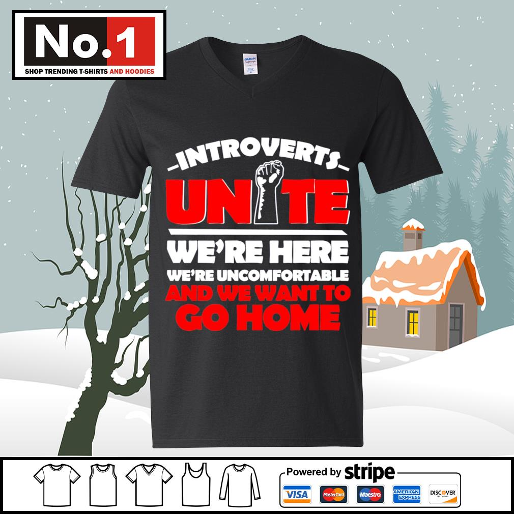 Introverts Unite we're here we;re uncomfortable and we want to go home s ladies-tee