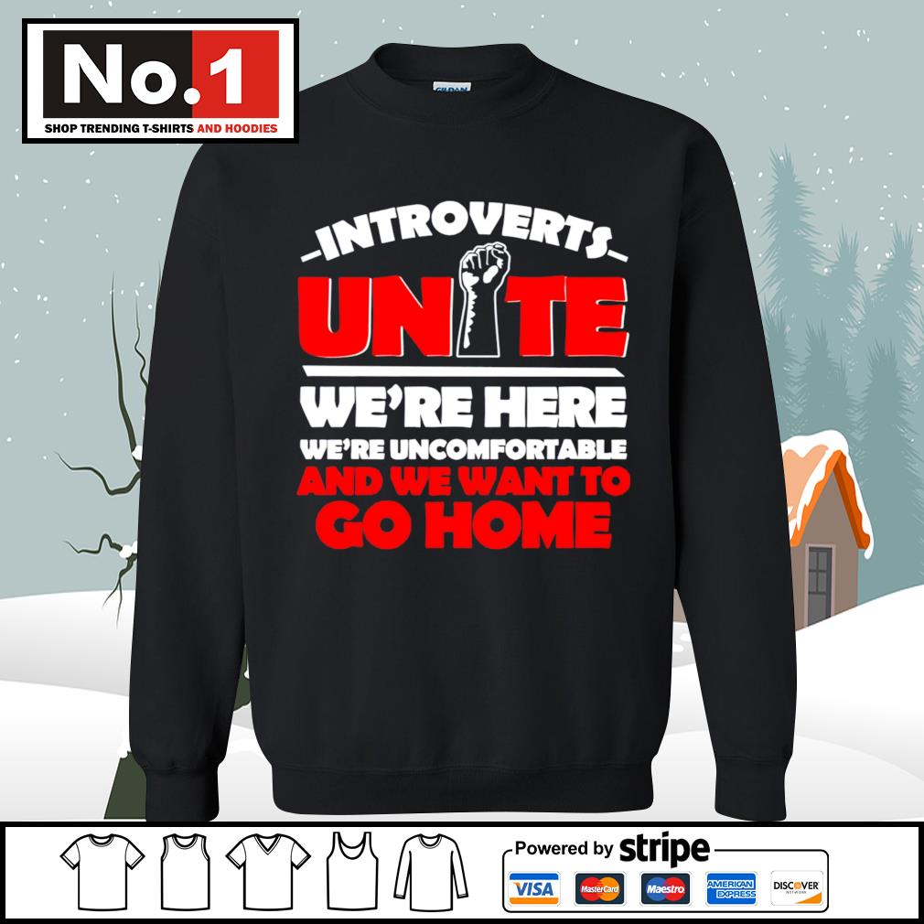Introverts Unite we're here we;re uncomfortable and we want to go home s sweater