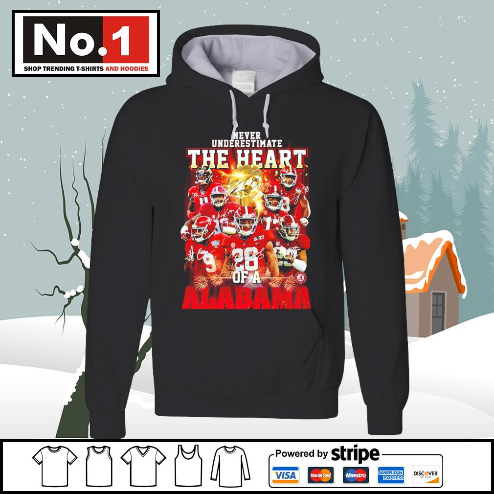 Never underestimate the heart of a Alabama Crimson Tide signatures 52 24 Ohio State s hoodie