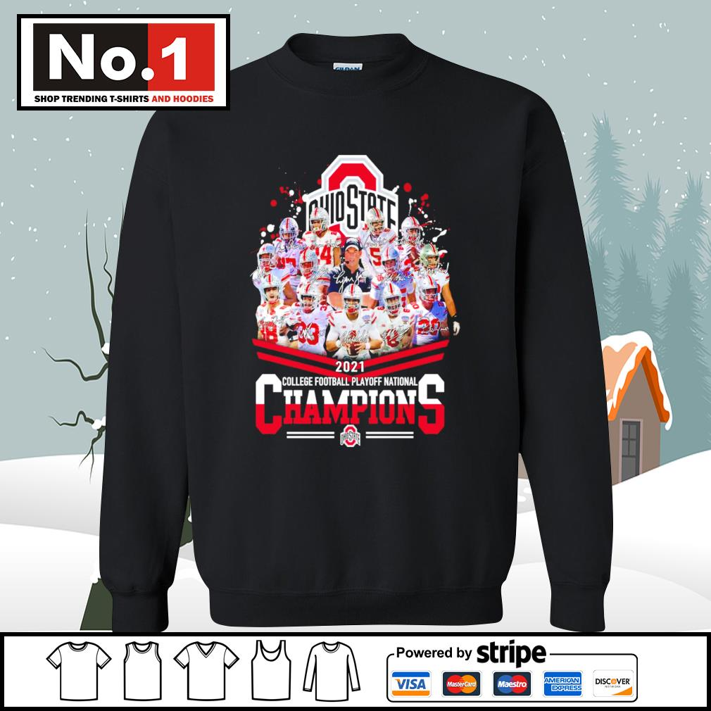 Ohio State Buckeyes 2021 college football playoff National Champions signatures s sweater